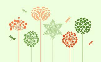 Silhuetas de Flores da Primavera vetor