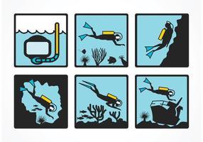 Ícones de mergulho de vetores grátis