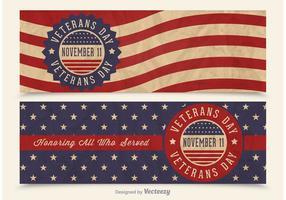 Banners retros do vetor do dia dos veteranos grátis