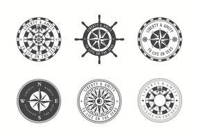 Emblemas da carta náutica vetorial grátis vetor