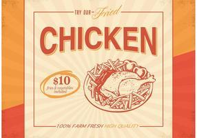 Poster retro retro do vetor da galinha fritada
