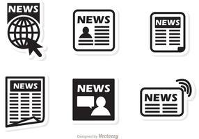 Vector de notícias de ícones negros