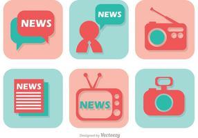 Ícone de ícones de mídia de notícias vetor