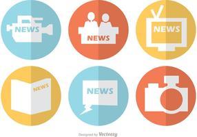 Vetor de ícones planos de notícias