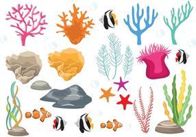 Recife de corais com vetores de peixe