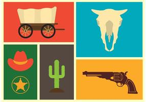 Ícones do vetor do oeste selvagem