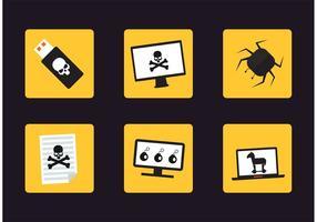 Ícones de vetor de ataque cibernético