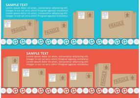 Vector de correia transportadora com caixas