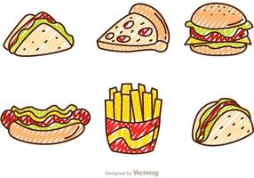 Scribble fast food vectors