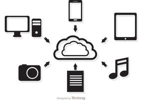 Conceito de computação em nuvem em vetor preto e branco