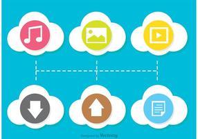 Vetores de ícones computacionais em nuvem plana coloridos