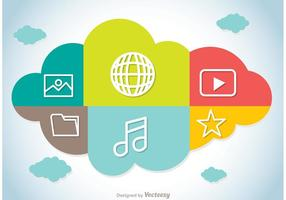 Vector de Conceito de Computação em Nuvem Colorida