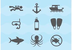Ícones de vetor de mergulho e mergulho