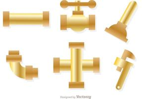 Vetores de tubulação de esgoto de ouro