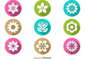 Ícones planos florais de vetores