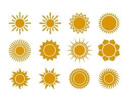 Ícones planos do vetor do sol do verão