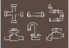 Vetores de tubulação desenhada com giz