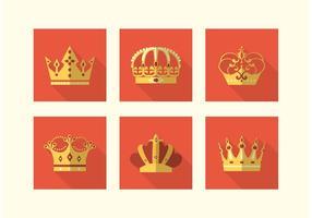 Ícones vetoriais de coroas planas grátis