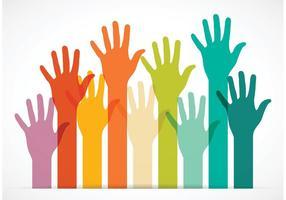 Vector livre colorido alcançando as mãos