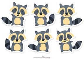 Desenho Animado Raccoon Set Vector