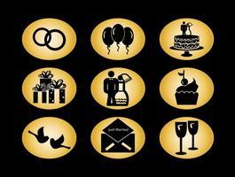 Ícones do vetor do casamento