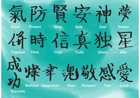 Vetores de caligrafia chinesa e japonesa