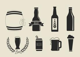 Ícones de cerveja de vetores livres configurados