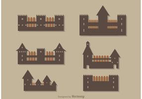 Vetor simples dos ícones do castelo