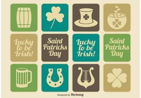 Conjunto de ícones do dia de Saint Patrick do vintage vetor