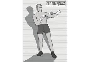 Old Time Boxer Vector em cinza