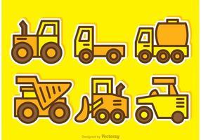 Vetores de caminhões de despejo de desenhos animados