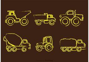 Vetores de caminhões de despejo desenhados por giz