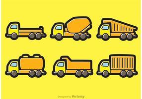 Vagões de desenhos animados de caminhões de despejo vetor