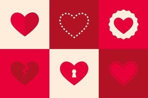 Ícones planos do coração vetor