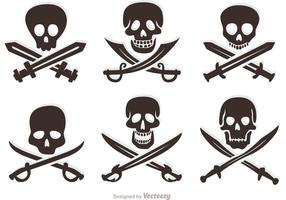 Conjunto de crânios de vetores piratas
