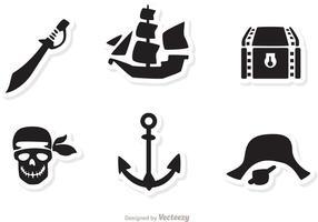 Vetores de ícones pretos de pirata