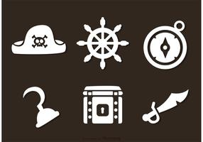 Vetores de ícones brancos piratas