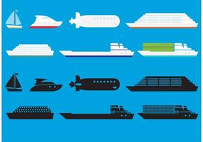 Ícones de vetores de navios