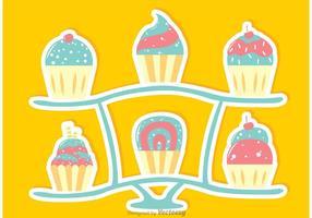 Vetor do carrinho cupcake dos doces