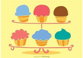 Vetor de Stand Cupcake Fresco