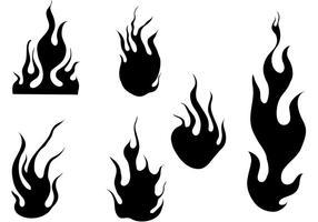 Conjunto de vetores de fogo e chamas