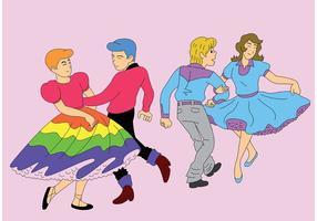 Parceiros de dança quadrada vetor