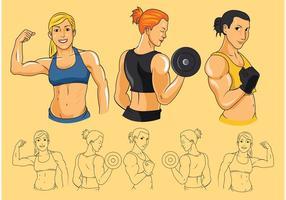 Vetores do bíceps das mulheres