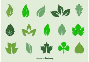 Conjunto de ícones de folhas de vetores