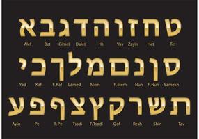 Vector de alfabeto hebraico em ouro