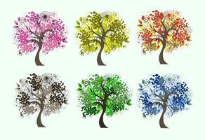 Vetores decorativos da árvore sazonal