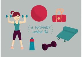 Um kit de treino para mulher vetor