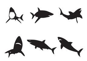 Silhuetas de tubarão vetorial vetor