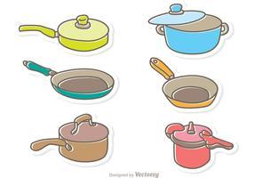 Pacote de desenhos animados Pan Cooking Cooking vetor
