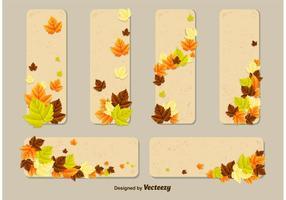 Modelos do cartão do vetor das folhas de outono